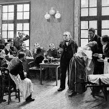 Jean Martin Charcot working with a hysterical patient